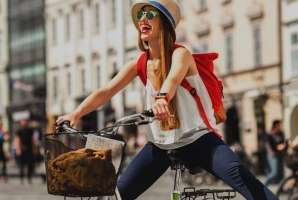 happy woman biking